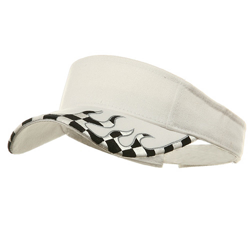 Checker Flame Visors-White - Hats and Caps Online Shop - Hip Head Gear