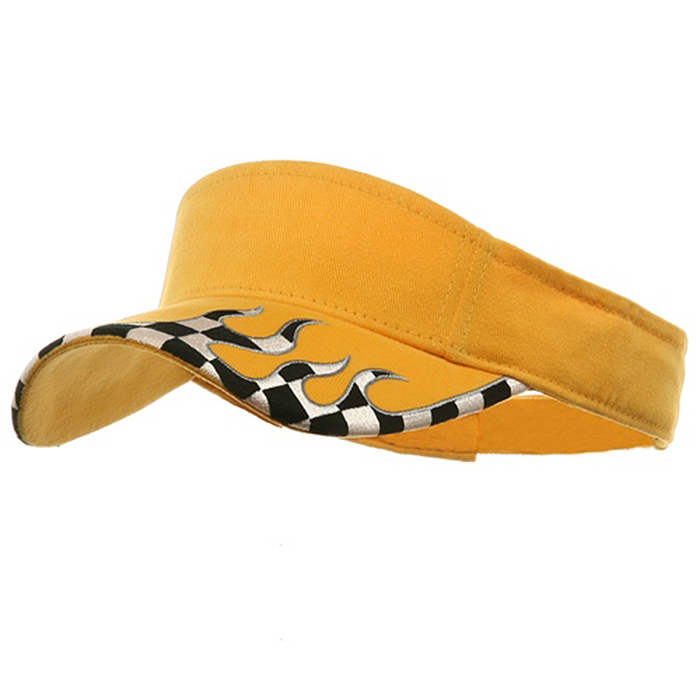 Checker Flame Visors-Yellow - Hats and Caps Online Shop - Hip Head Gear