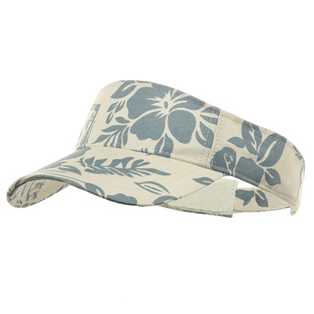 Canvas Flower Print Visor-Lt Blue - Hats and Caps Online Shop - Hip Head Gear