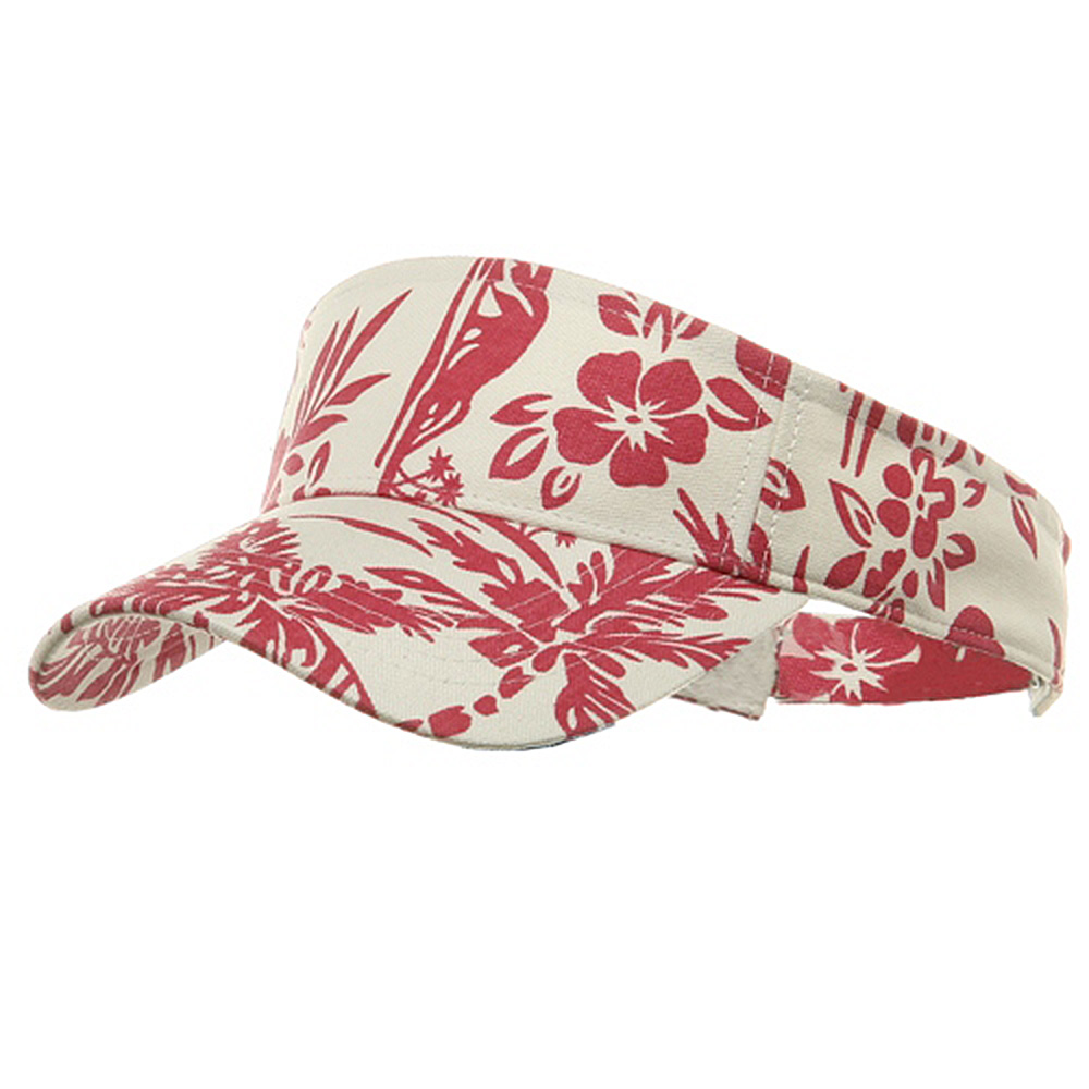 Canvas Flower Print Visor-Fuchsia - Hats and Caps Online Shop - Hip Head Gear