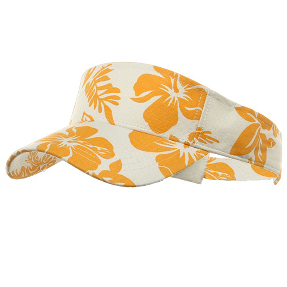 Canvas Flower Print Visor-Gold - Hats and Caps Online Shop - Hip Head Gear