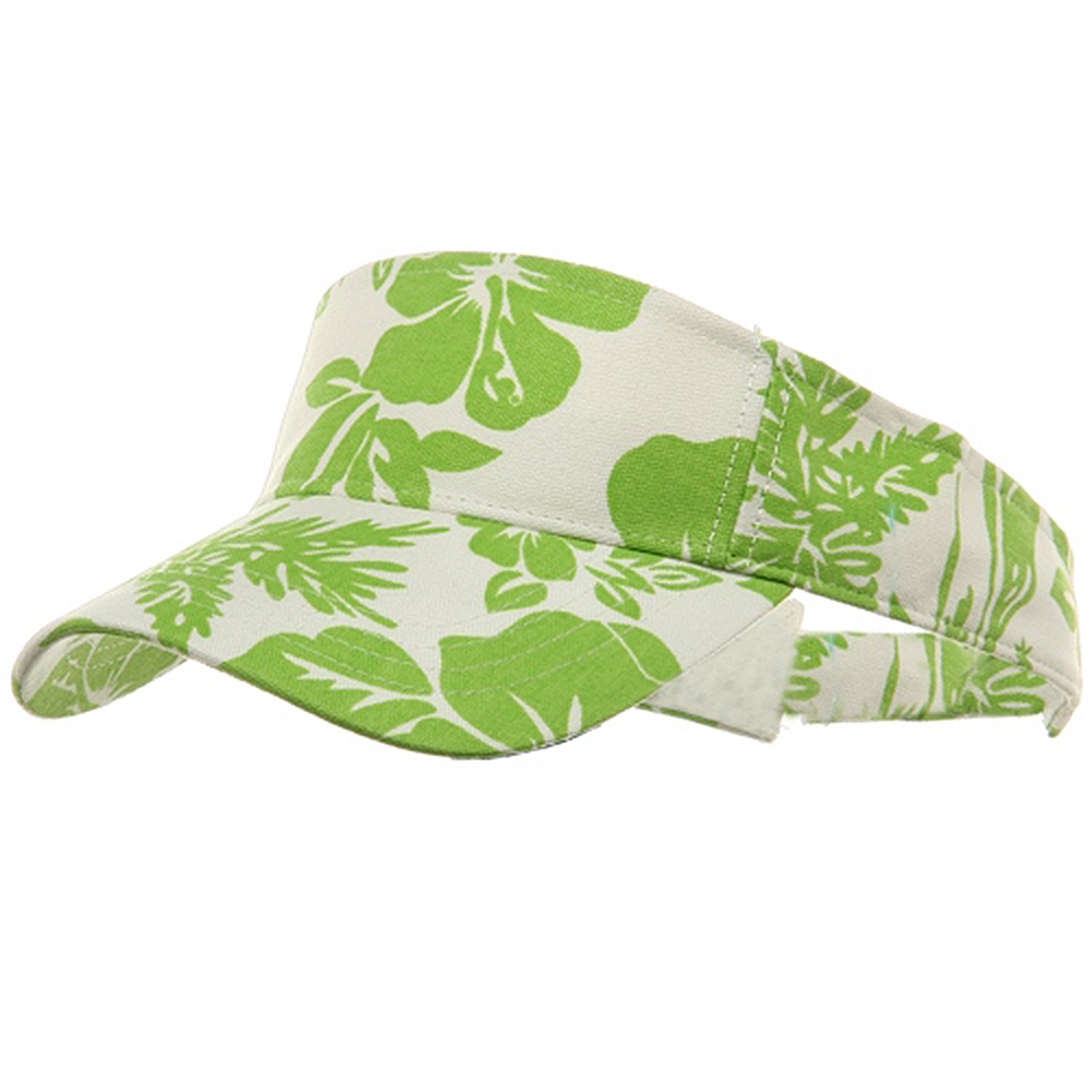 Canvas Flower Print Visor-Lime - Hats and Caps Online Shop - Hip Head Gear
