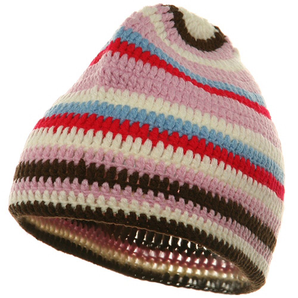Crocheted Kufi Beanies-Pink - Hats and Caps Online Shop - Hip Head Gear
