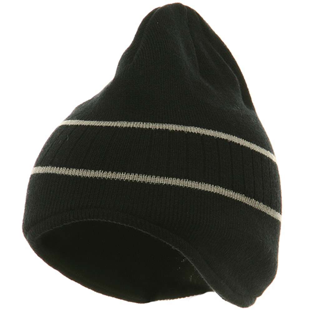 Two Tone Ear Flap Beanie-Black Grey - Hats and Caps Online Shop - Hip Head Gear