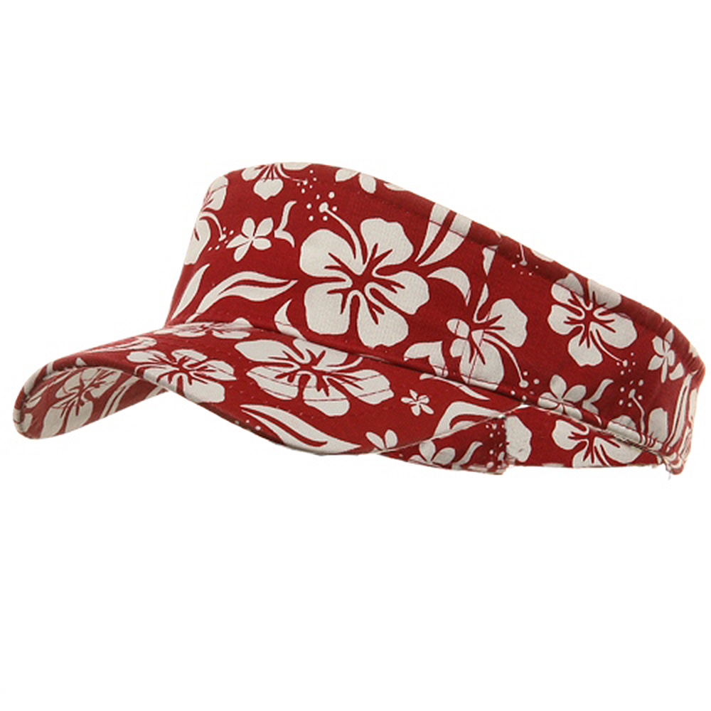 New Hawaiian Pattern Visor-Red - Hats and Caps Online Shop - Hip Head Gear