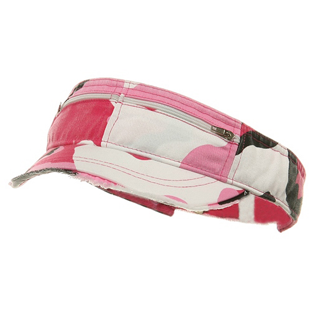 Enzyme Washed Cotton Twill Visor-Pink Camo - Hats and Caps Online Shop - Hip Head Gear