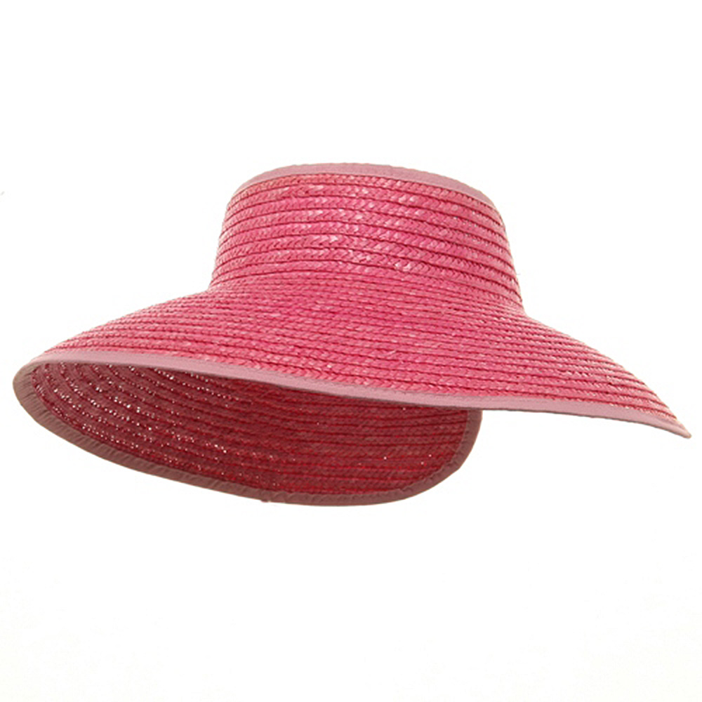 Braided Straw Wrap Visor-Pink