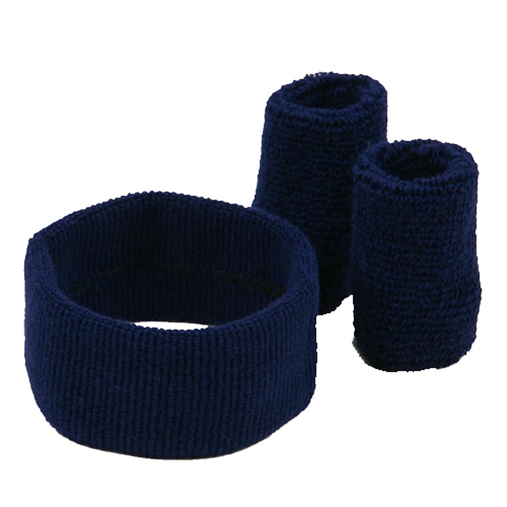 Solid Color Head and Wrist Band Set-Navy