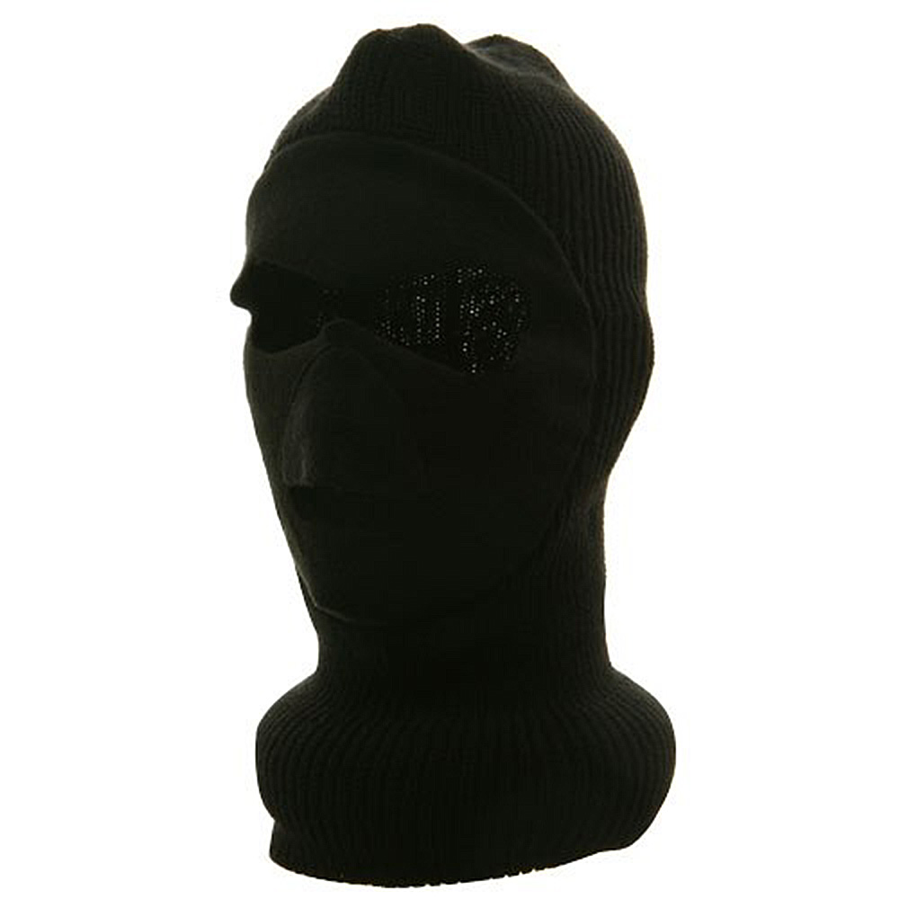 Fleece Front Ski Knit Mask - Black - Hats and Caps Online Shop - Hip Head Gear