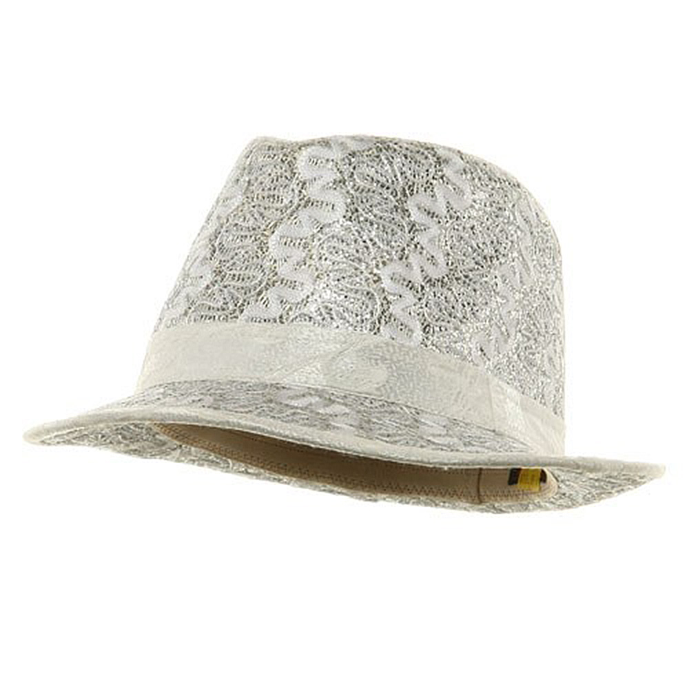 Polyester Lurex Fedora Hat / Silver - Hats and Caps Online Shop - Hip Head Gear