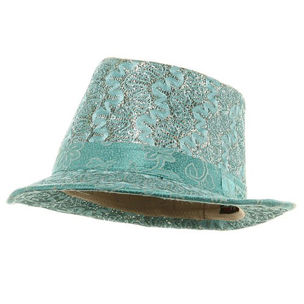 Polyester Lurex Fedora Hat / Turquoise - Hats and Caps Online Shop - Hip Head Gear