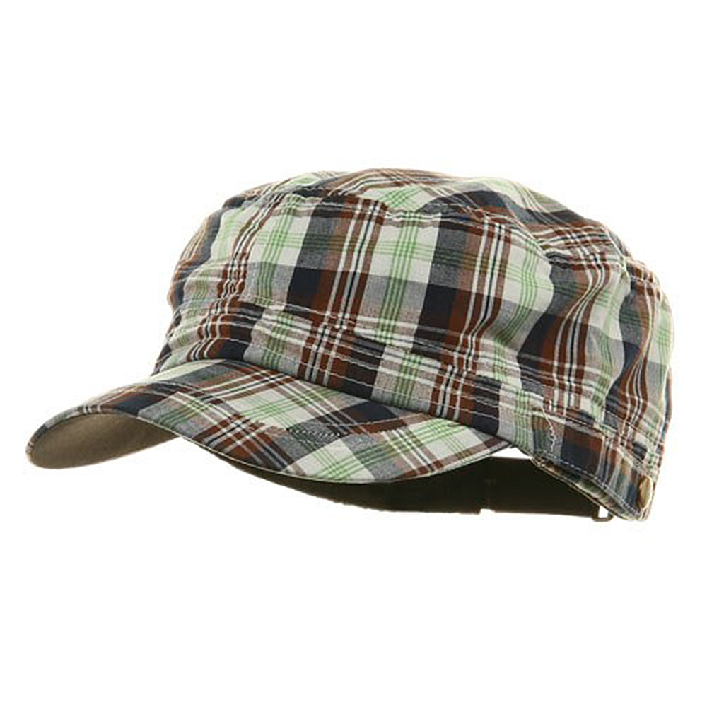 Washed Plaid Fidel Army Cap - Green - Hats and Caps Online Shop - Hip Head Gear