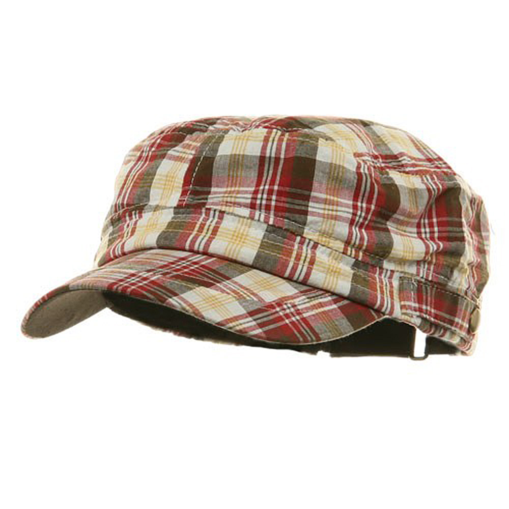 Washed Plaid Fidel Army Cap - Wine - Hats and Caps Online Shop - Hip Head Gear