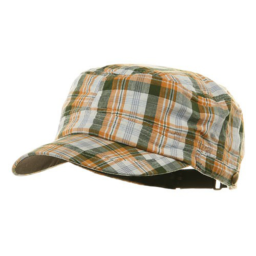 Washed Plaid Fidel Army Cap - Gold - Hats and Caps Online Shop - Hip Head Gear