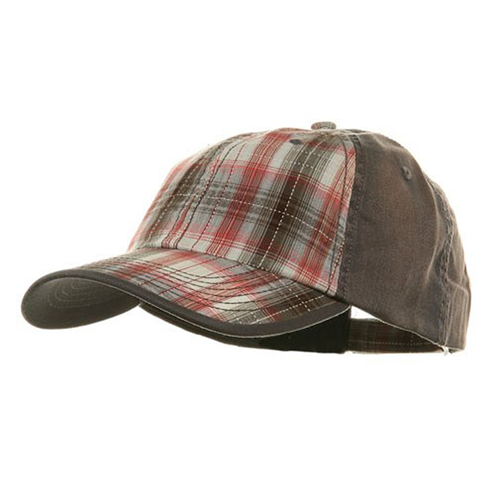 Low Profile Washed Plaid Cotton Cap - Grey - Hats and Caps Online Shop - Hip Head Gear