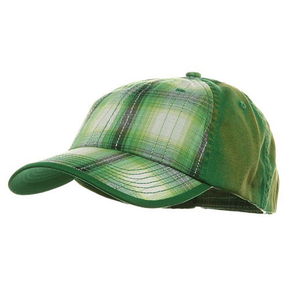 Low Profile Washed Plaid Cotton Cap - Kelly Green - Hats and Caps Online Shop - Hip Head Gear