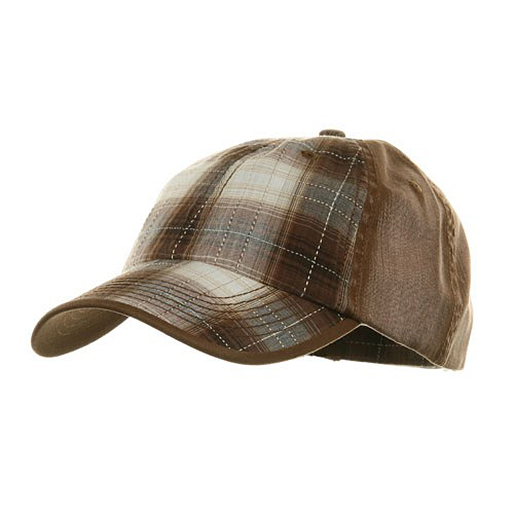 Low Profile Washed Plaid Cotton Cap - Brown - Hats and Caps Online Shop - Hip Head Gear