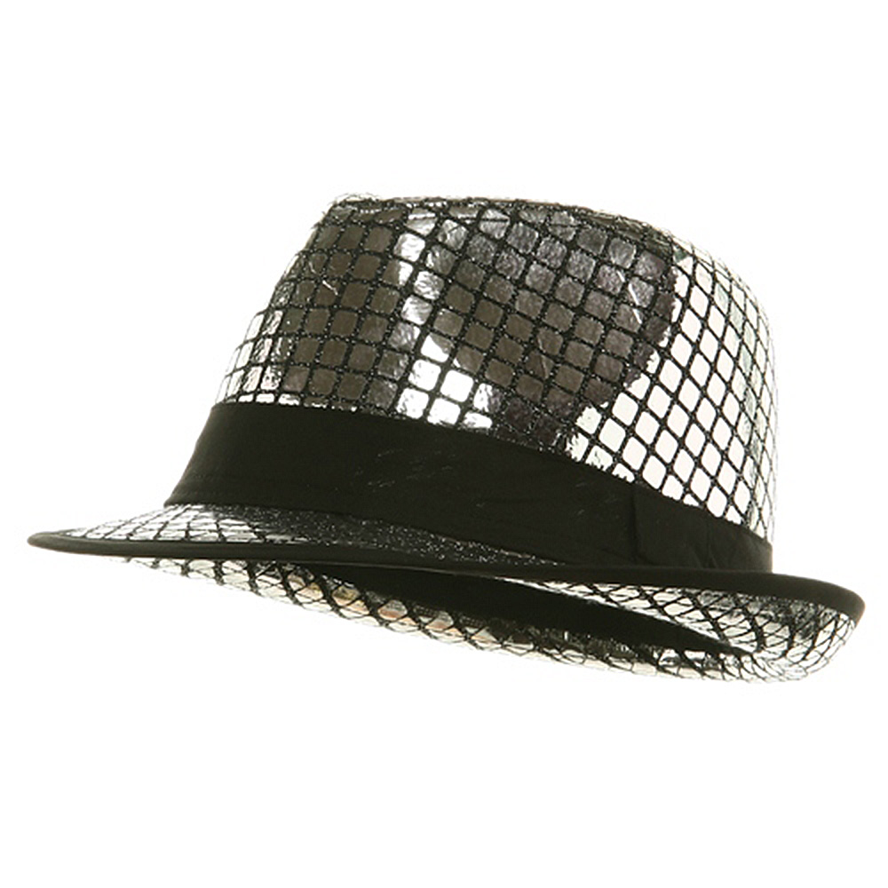 Shiny Metallic Fedora Hat - Silver - Hats and Caps Online Shop - Hip Head Gear
