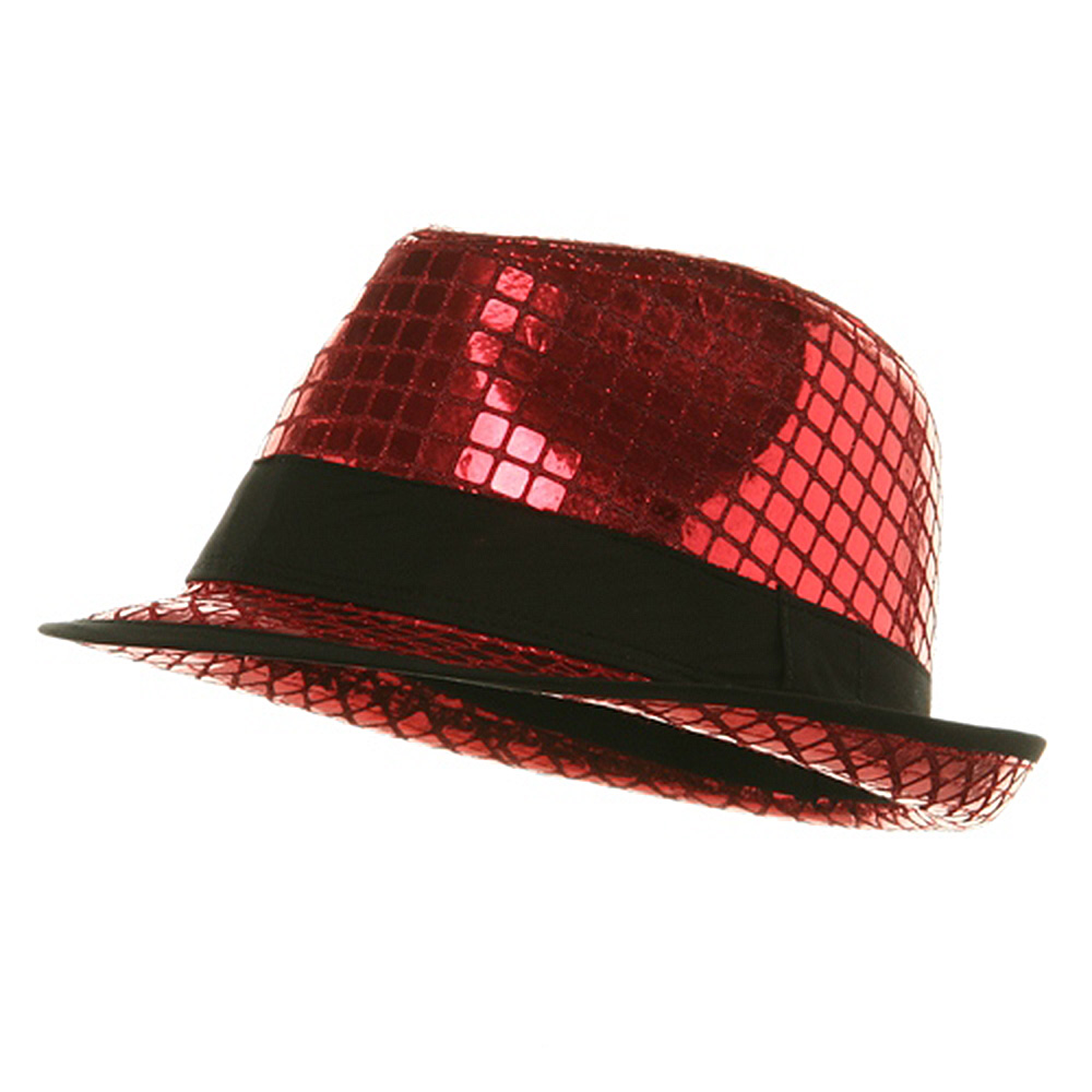 Shiny Metallic Fedora Hat - Red - Hats and Caps Online Shop - Hip Head Gear