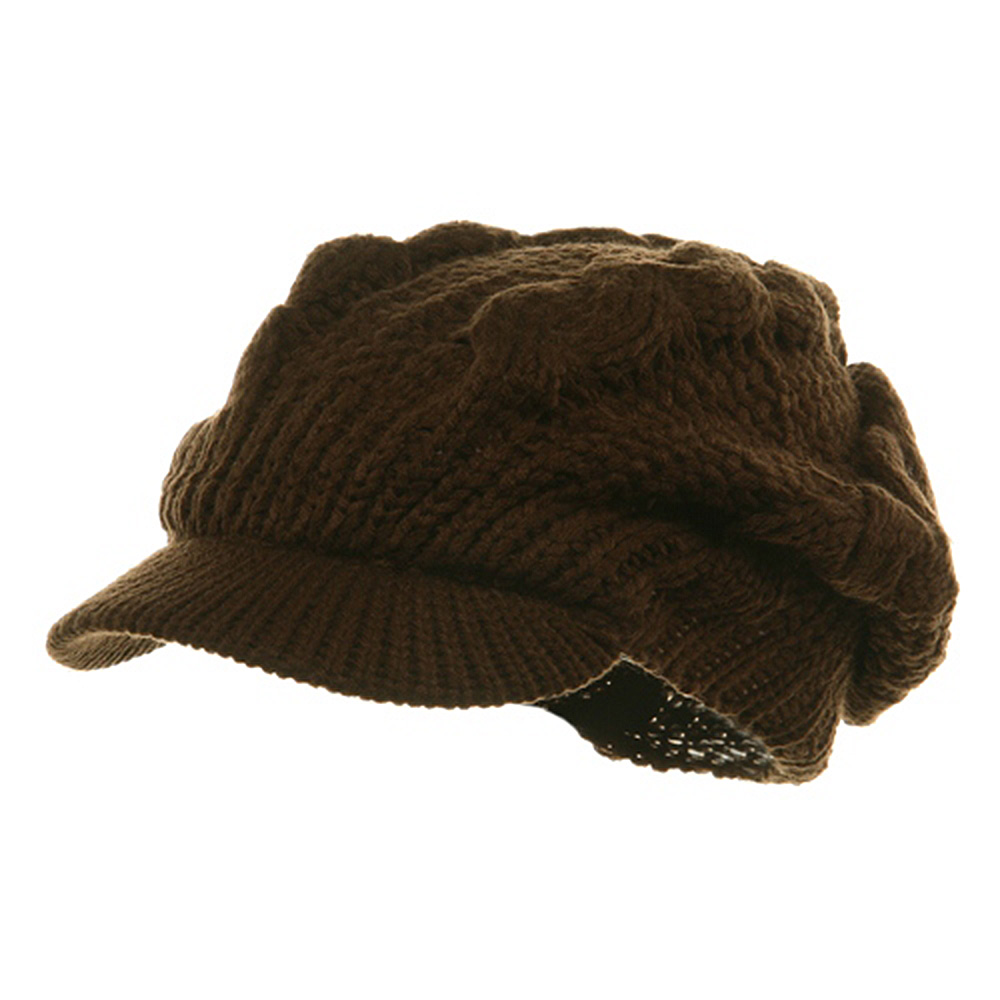 Large Cable Knit Newsboy Cap - Brown - Hats and Caps Online Shop - Hip Head Gear