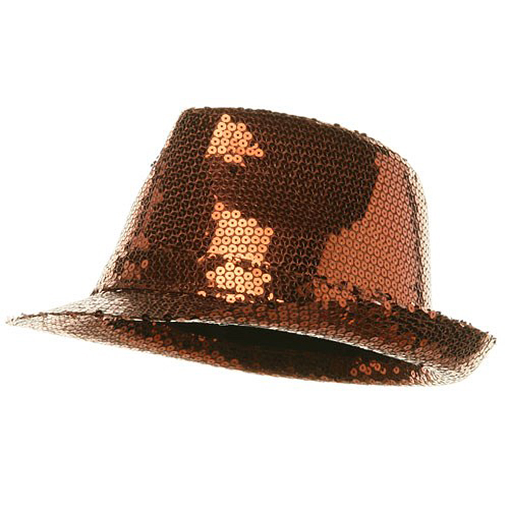 Full Sequin Fedora Hat - Brown - Hats and Caps Online Shop - Hip Head Gear