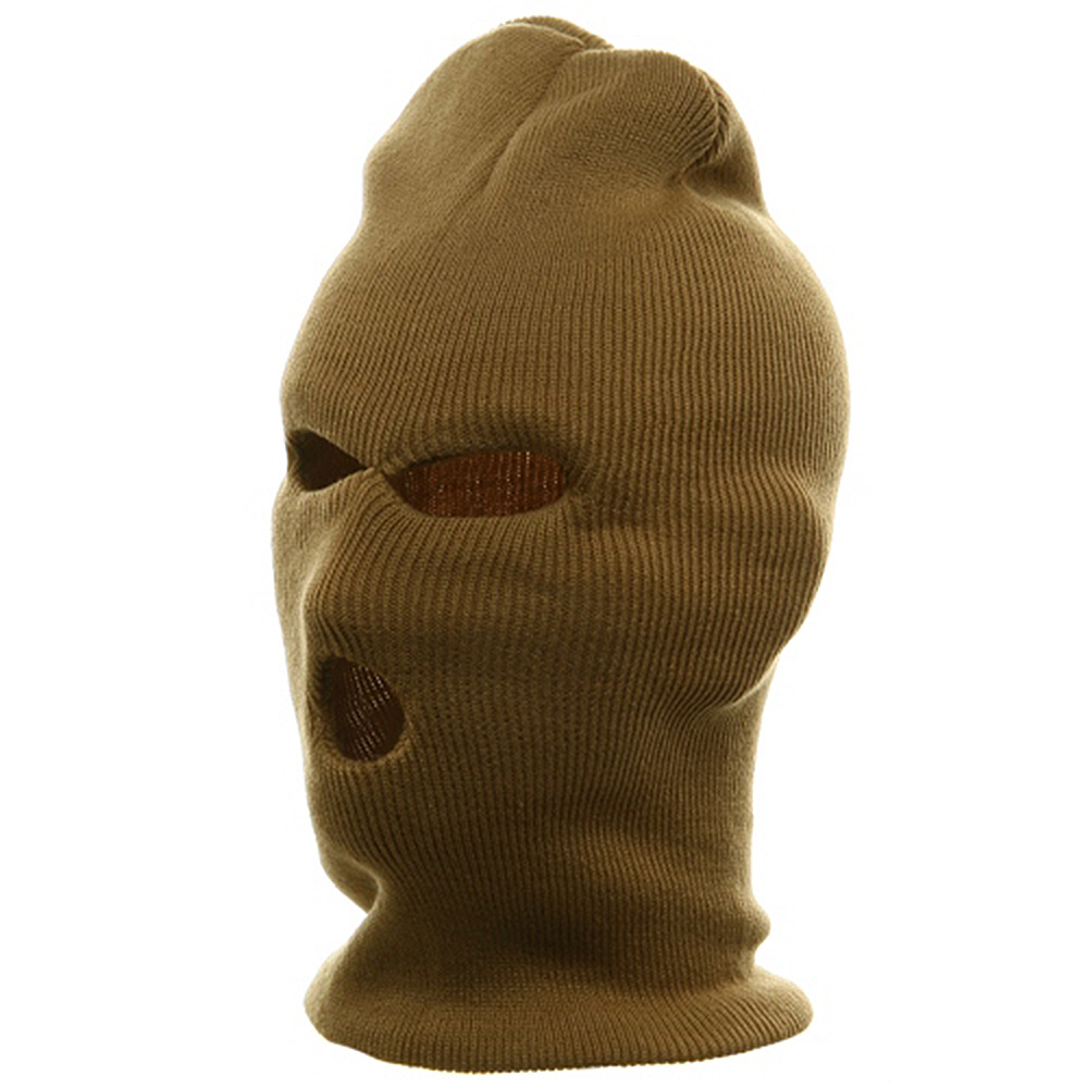 Ski Mask - Tri Hole  - Khaki(2) - Hats and Caps Online Shop - Hip Head Gear
