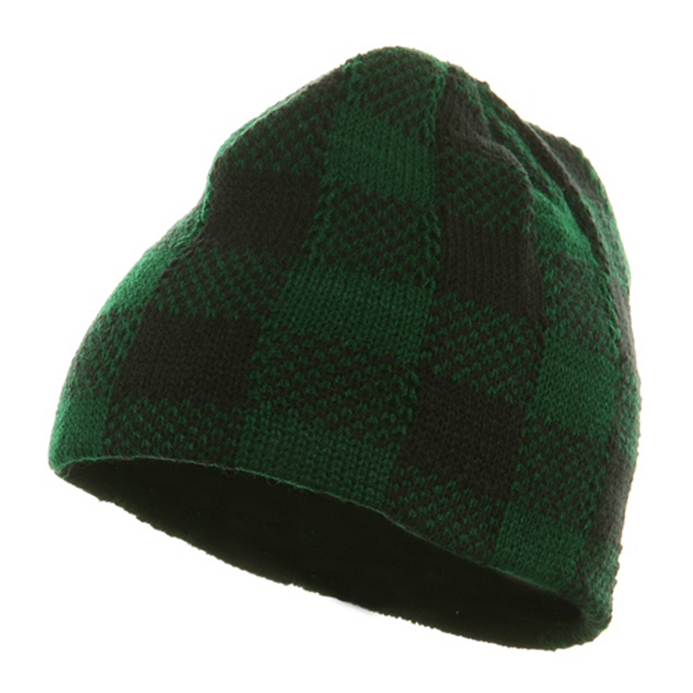Buffalo Plaid Short Beanie - Green Black - Hats and Caps Online Shop - Hip Head Gear