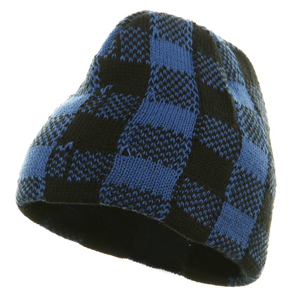 Buffalo Plaid Short Beanie - Blue Black - Hats and Caps Online Shop - Hip Head Gear