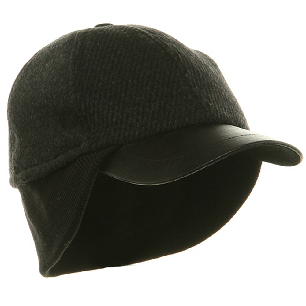 Men's Wool Cap with Warmer Flap - Charcoal