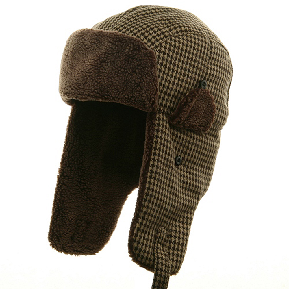 Big Size Tweed Sherpa Lining Trooper Hat-Brown - Hats and Caps Online Shop - Hip Head Gear