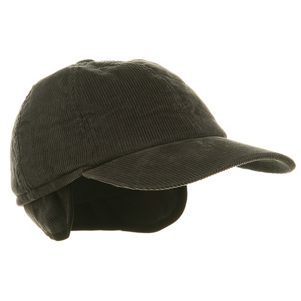 Men's Corduroy Winter Cap - Charcoal - Hats and Caps Online Shop - Hip Head Gear