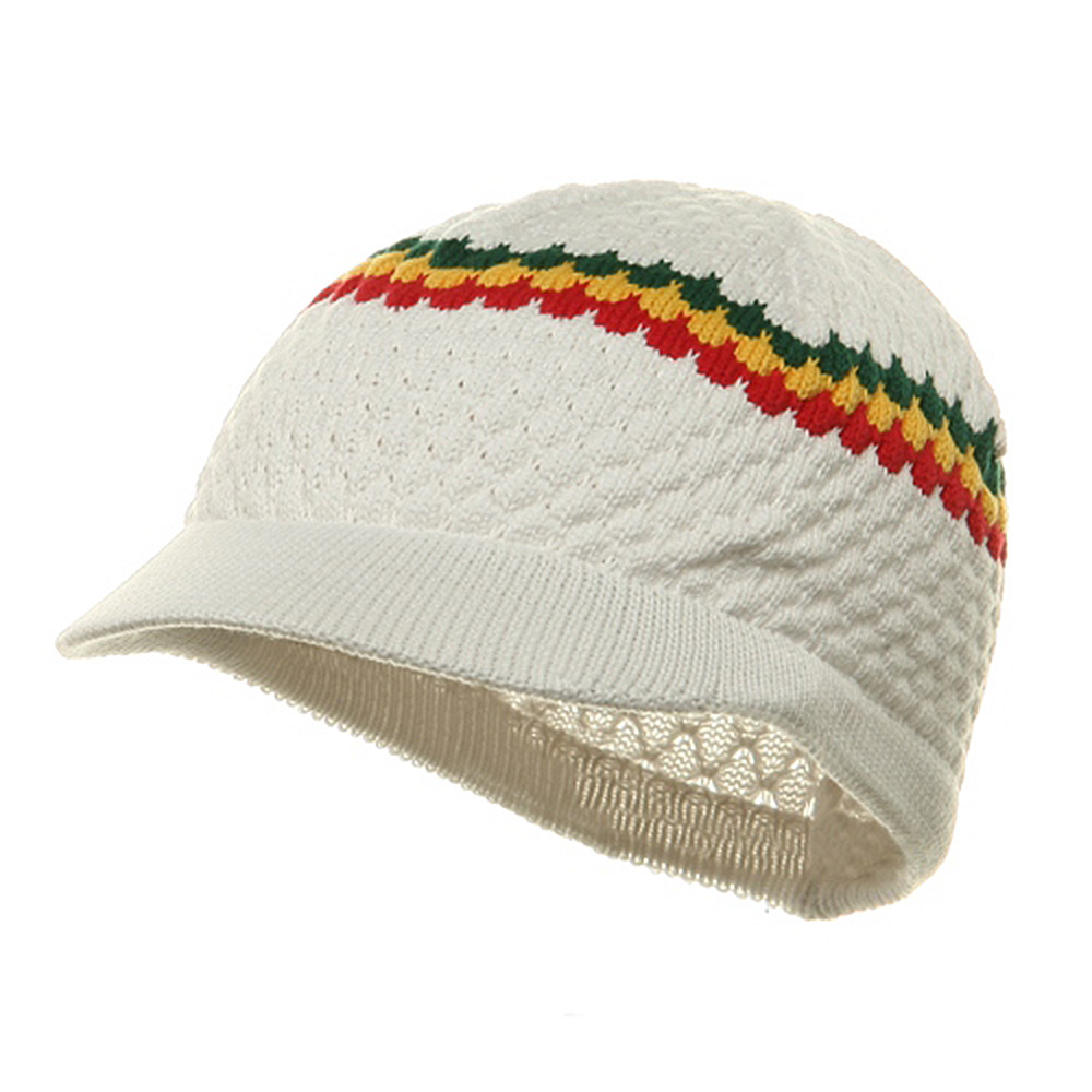 Rasta Beanies Visors (05)-White RGY - Hats and Caps Online Shop - Hip Head Gear