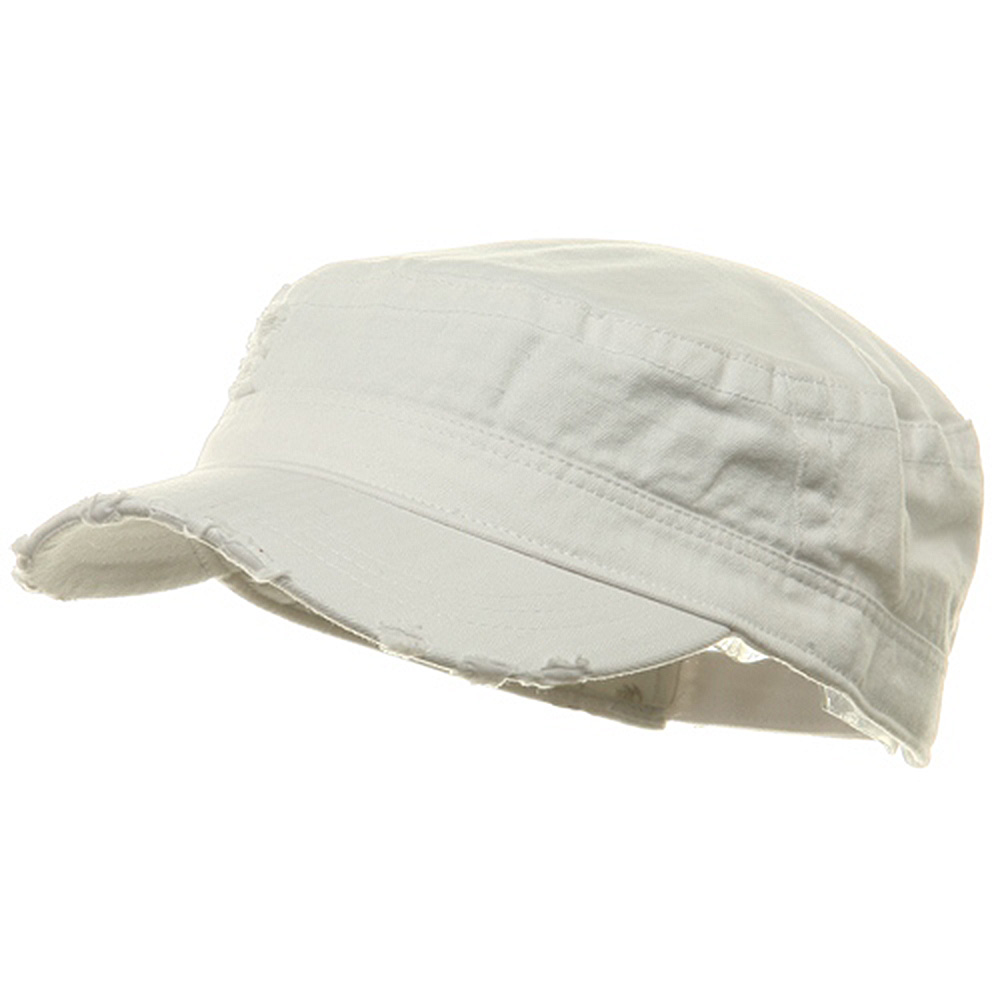 Adjustable Herringbone Army Cap - White - Hats and Caps Online Shop - Hip Head Gear