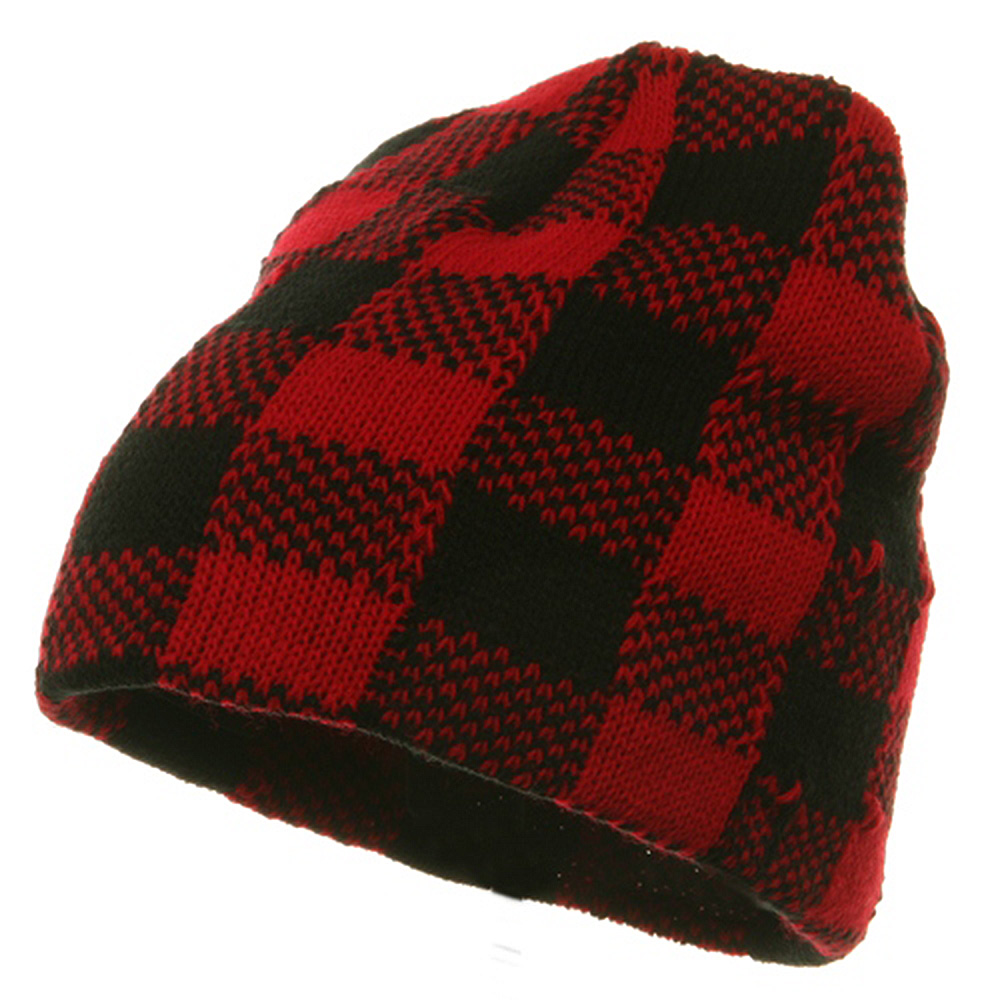 Buffalo Plaid Short Beanie - Red Black - Hats and Caps Online Shop - Hip Head Gear