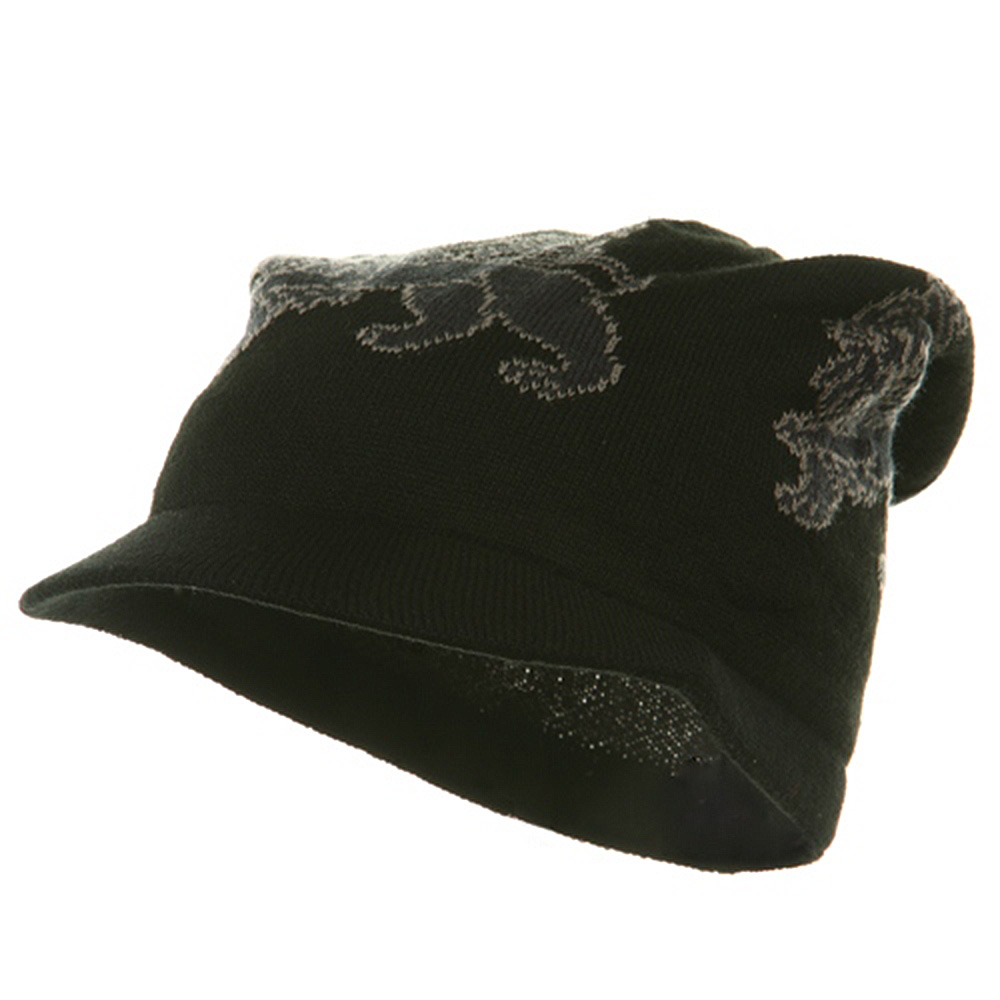 Regular Lion Rasta Beanie Visor Hat-Black Grey - Hats and Caps Online Shop - Hip Head Gear