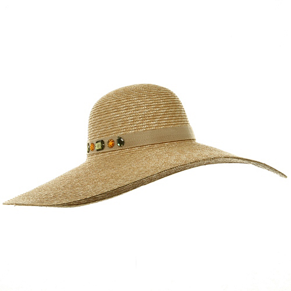 6 Inch Wide Brim ML Straw Hat 2 - Gem Band - Hats and Caps Online Shop - Hip Head Gear
