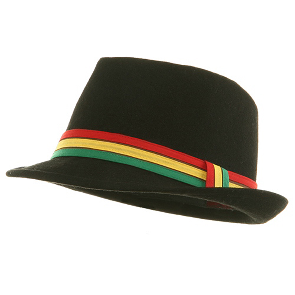 Wool Rasta Fedora Hat - Black - Hats and Caps Online Shop - Hip Head Gear