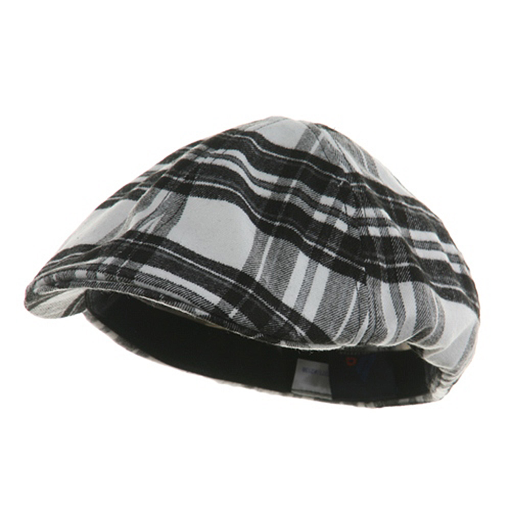 Plaid Design Ivy Cap - White Black - Hats and Caps Online Shop - Hip Head Gear