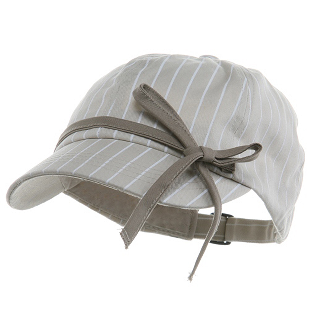 Ladies White Stripe 6 Panel Newsboy Hat - Stone - Hats and Caps Online Shop - Hip Head Gear