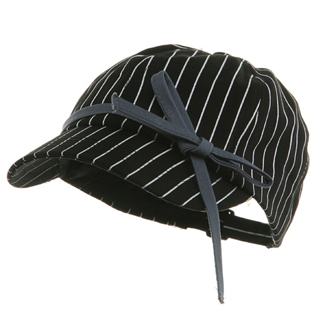 Ladies White Stripe 6 Panel Newsboy Hat - Black - Hats and Caps Online Shop - Hip Head Gear