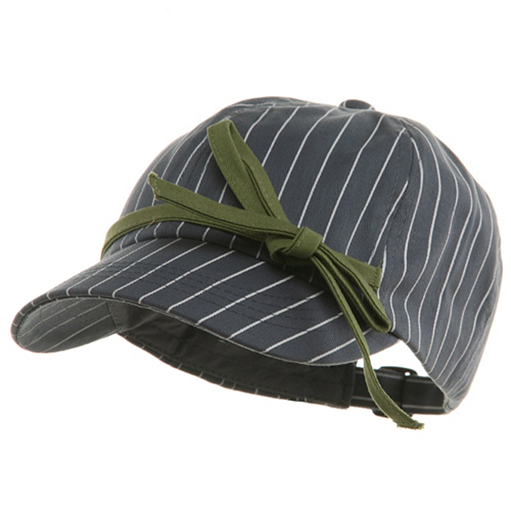Ladies White Stripe 6 Panel Newsboy Hat - Grey - Hats and Caps Online Shop - Hip Head Gear