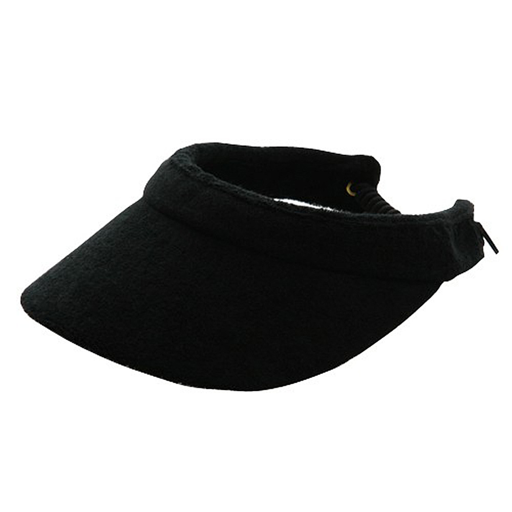 Athletic Terry Cloth Visor #8 - Black - Hats and Caps Online Shop - Hip Head Gear