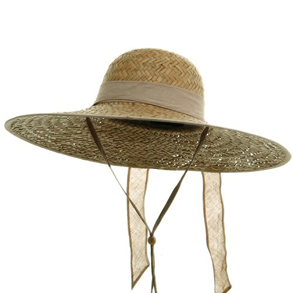 Women's Palm Straw Large Brim Hat - Natural Ribbon - Hats and Caps Online Shop - Hip Head Gear