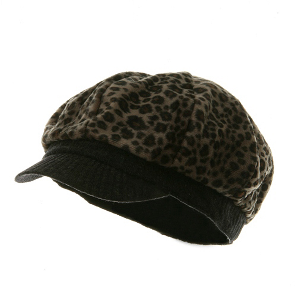 Leopard Print Newsboy Hat - Brown - Hats and Caps Online Shop - Hip Head Gear