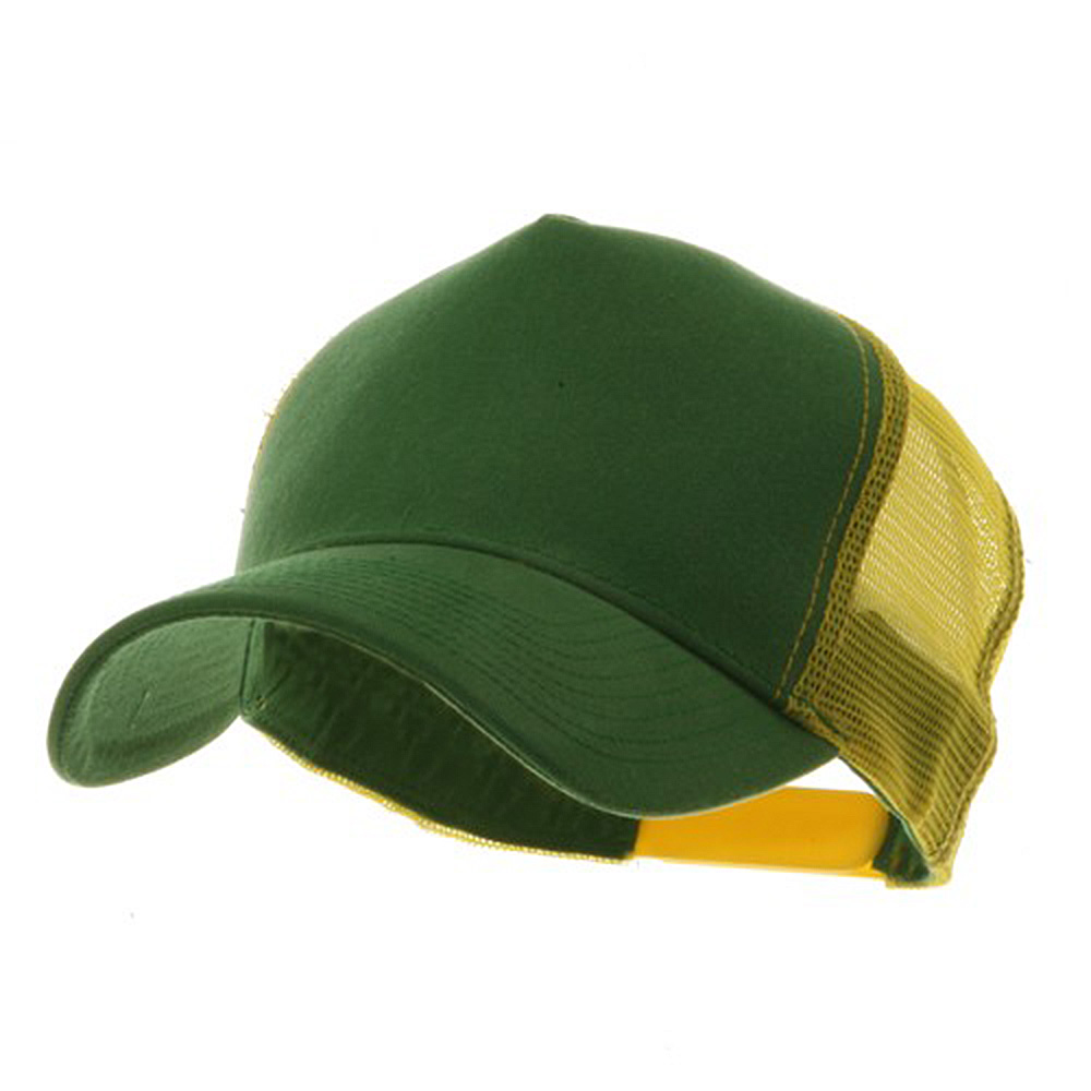 Heavy Washed 5 Panel Cotton Mesh Back Cap - Kelly Gold