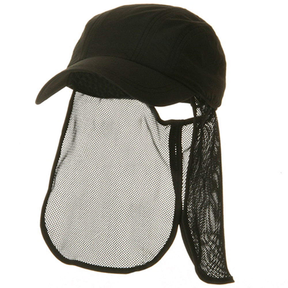 UV 5 Panel Tuck Away Flap Cap - Black - Hats and Caps Online Shop - Hip Head Gear