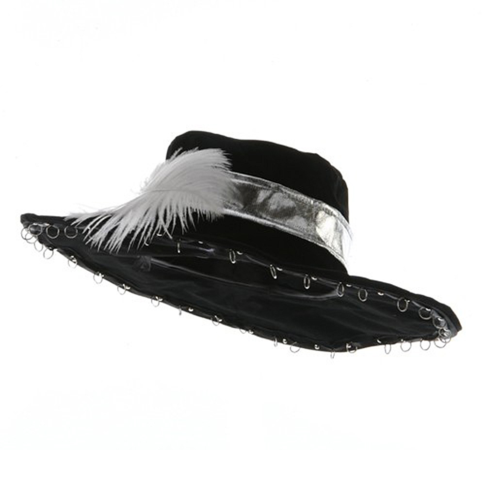 Large Velvet Pirate Hat - White Feather - Hats and Caps Online Shop - Hip Head Gear