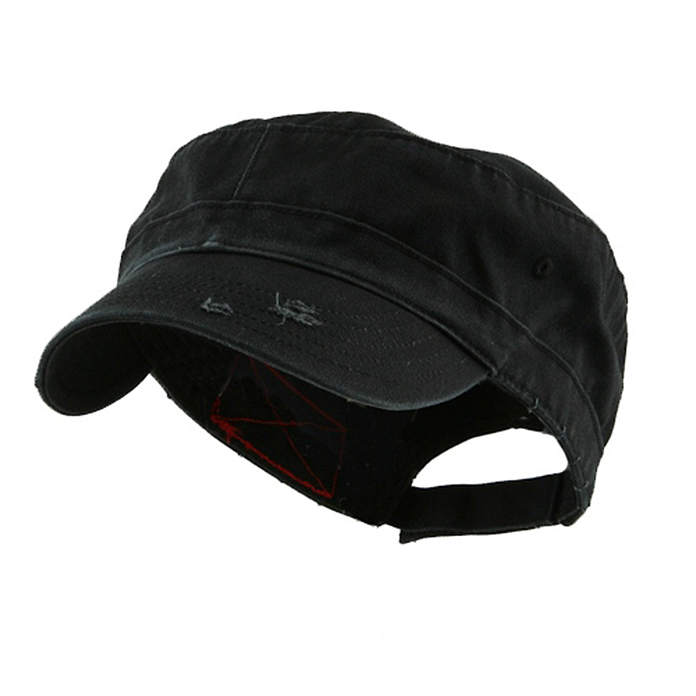 Enzyme Frayed Solid Army Caps-Black - Hats and Caps Online Shop - Hip Head Gear
