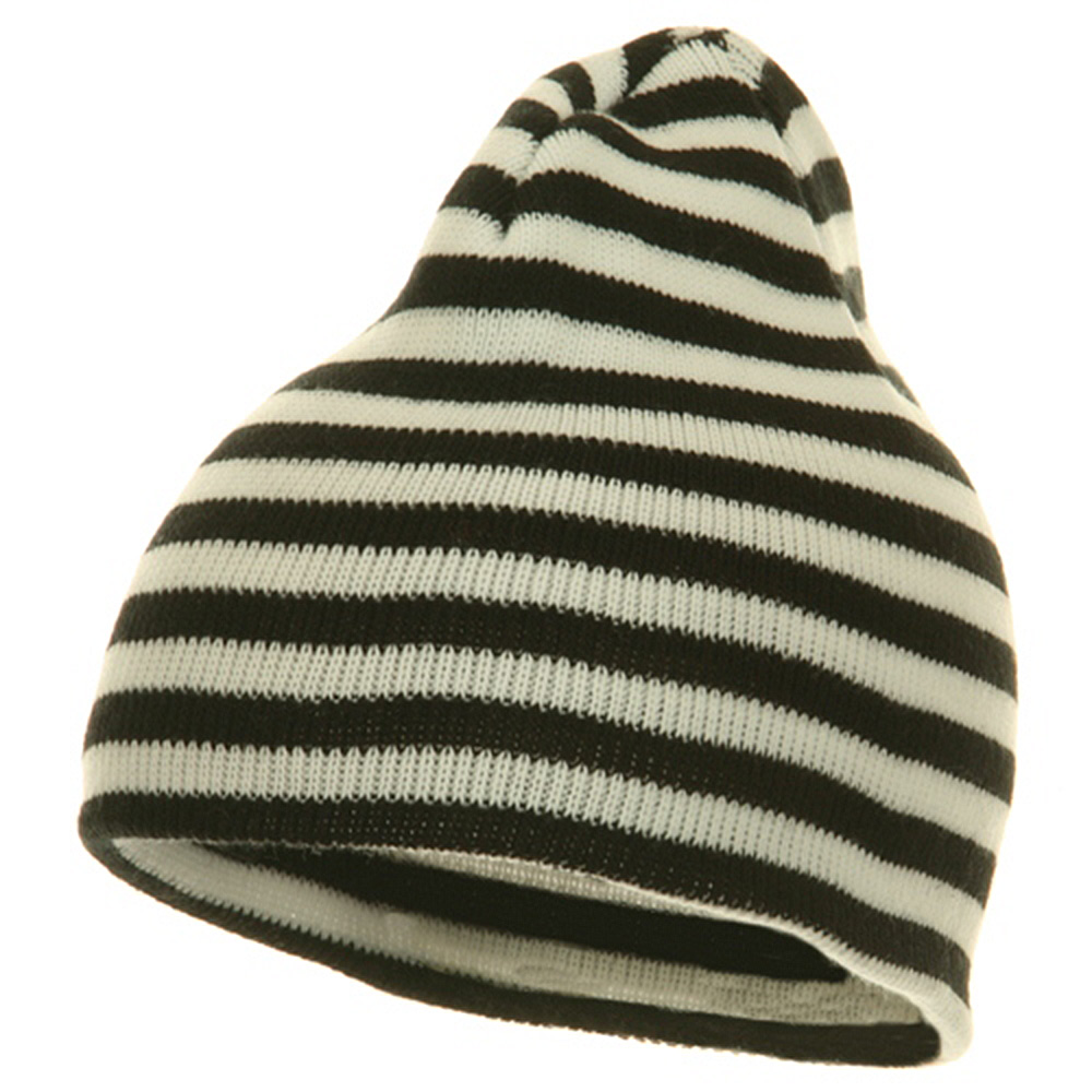 Trendy Striped Beanie - Black White - Hats and Caps Online Shop - Hip Head Gear