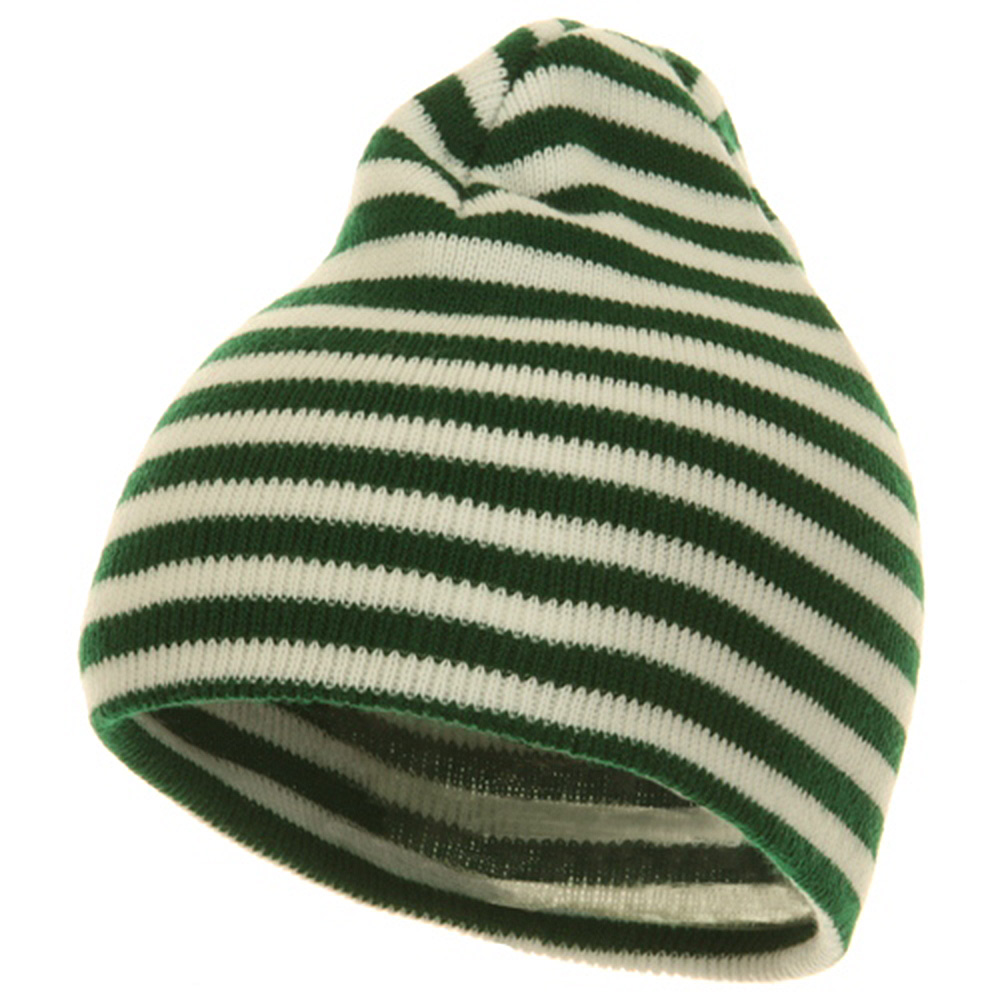 Trendy Striped Beanie - Green White - Hats and Caps Online Shop - Hip Head Gear